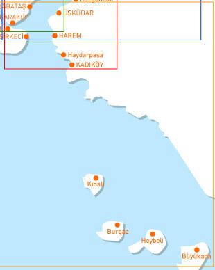 Ferry Map for Adalar Line Istanbul Turkey