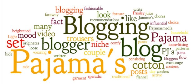 Blogging in Pajamas Word Cloud