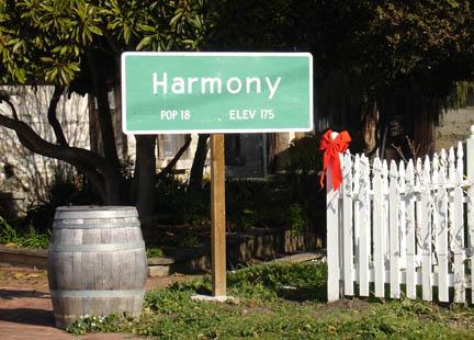 Harmony California sign