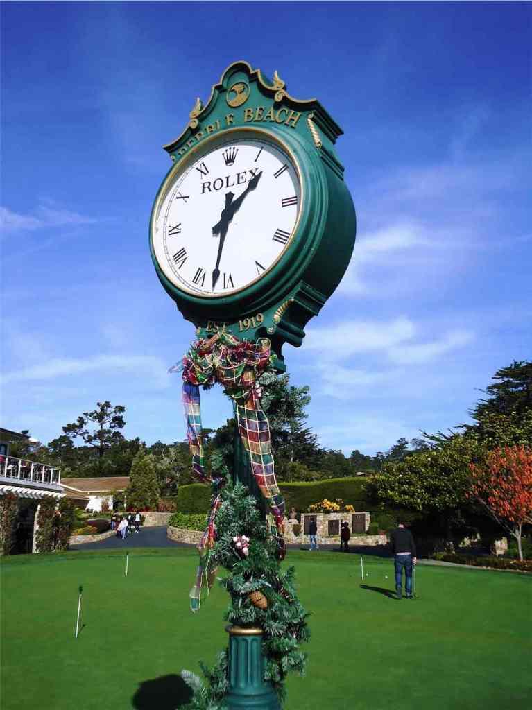Clock on the Putting Green of Pebble Beach California