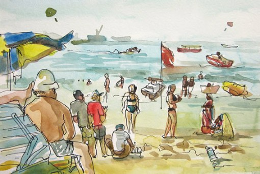 Watercolour of a beach scene by Suhita