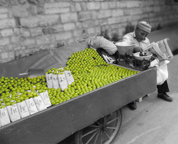 Istanbul Turkey street vendor selling Sour plums Black and White