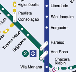Sao Paulo Metro Map Brazil