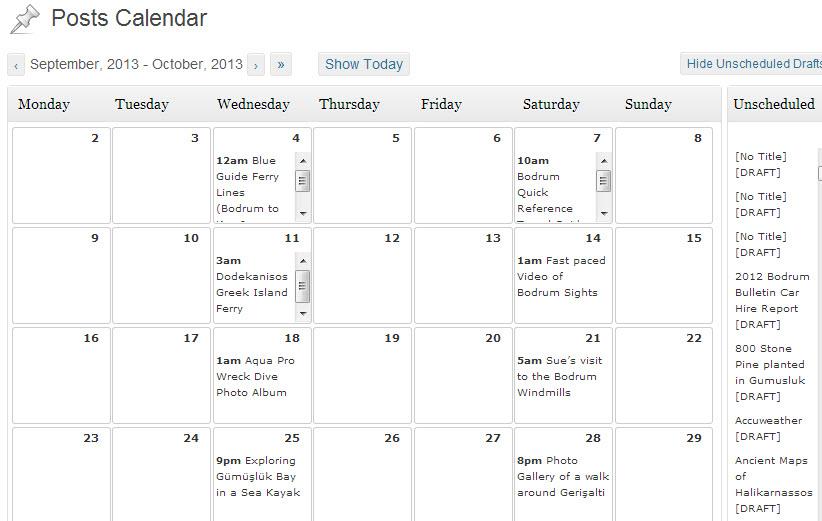 Post Calendar Example