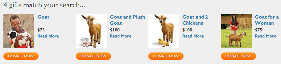 World Vision Christmas Goat Donation Charity