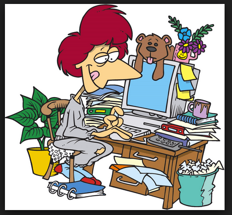 Illustration of busy computer desk full of clutter Roving Jay