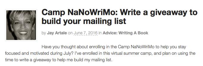 NaNoWriMo Guest Article on ALLi