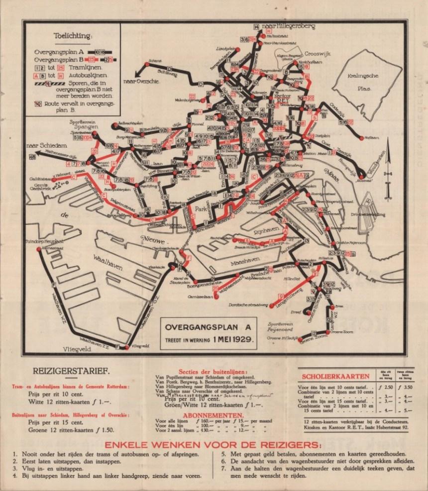 De eerste officiële Lijnenkaart van de RET