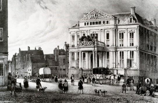 Het Schielandshuis aan de Korte Hoogstraat als vertrekpunt van de diligence naar Schiedam. ca. 1830
