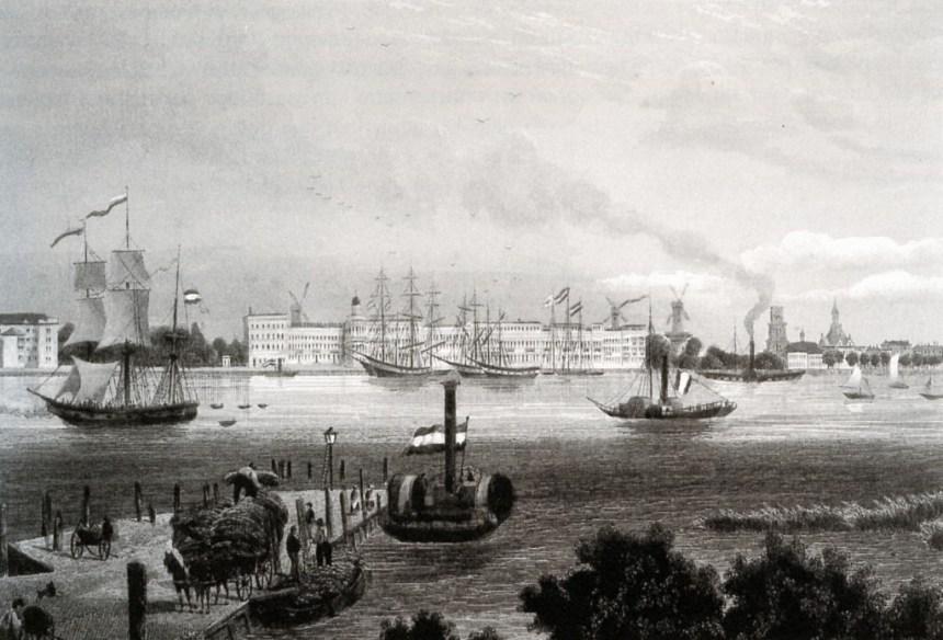 De Nieuwe Maas gezien vanaf de Linker Veerdam met aan de overzijde de Willemskade. In het midden het Katendrechtse veerbootje als stoomraderboot. Rotterdam, 1828.