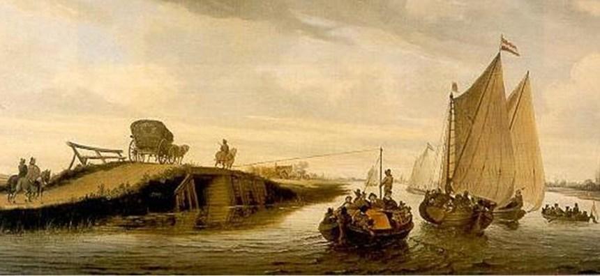 Een schilderij van Salomon van Ruysdael, waarop de vijf verschillende vormen van vervoer in de middeleeuwen in beeld bracht.