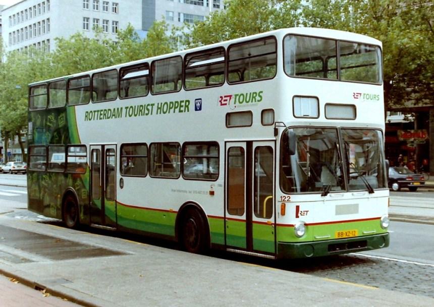 Bus 122, Tourist Hopper, MAN/Orenstein & Koppel, bouwjaar 1980, in 1995 overgenomen van de Berliner Verkehrs Gesellschaft 1770, uit dienst 2001. Foto 1996, kenteken: BB-XZ-12, Coolsingel