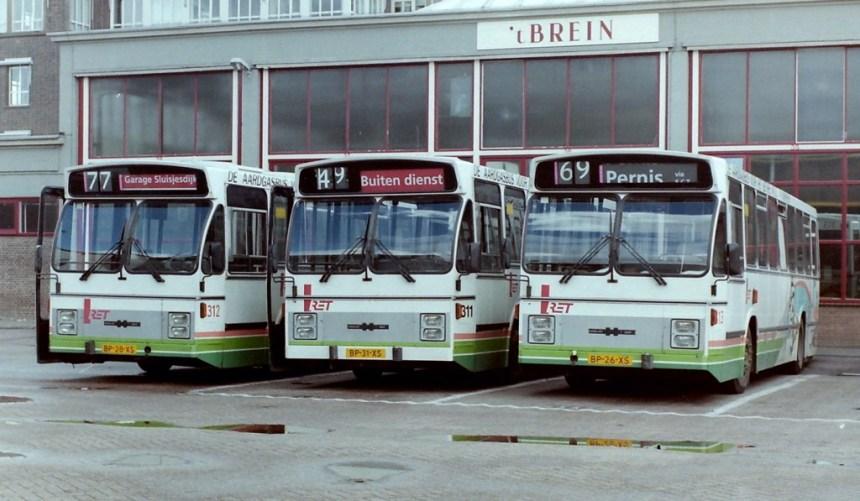 DAF CSA-2 aardgasbussen 312, 311 en 313, Sluisjesdijk, 1988