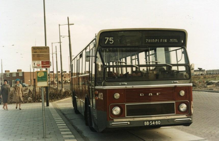 Bus 412, DAF CSA-1, lijn 75, Prinsenplein, 1968