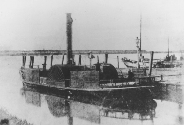 Veerhaven met het pontveer (stoombootje) naar Katendrecht (op de achtergrond bij de bomen, 1841
