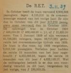 19391103 resultaten RET oktober, verzameling Hans Kaper