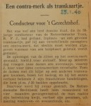 19400125 contramerk als tramkaartje, verzameling Hans Kaper