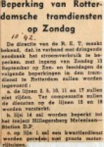19421010 Beperking Rotterdamse tramdiensten op zondag