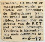 19470607 Geruchten verlenging rittijden