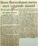 19600311 Bouw Rotterdamse metro start volgende maand