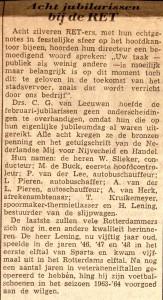19660304 Jubilarissen bij RET.