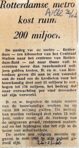 19661126 Rotterdamse metro kost ruim 200 miljoen