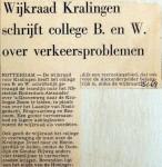 19680125 Wijkraad Kralingen schrijft B&W over verkeersproblemen