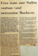 19680208 Extra trams naar Stadion vanaf metro Maashaven