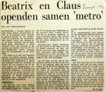 19680210 Beatrix en Claus openden samen metro )Trouw'