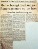 19680212 Metro brengt half miljoen Rotterdammers op de been