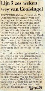 19680731 Lijn 3 zes weken weg van Coolsingel