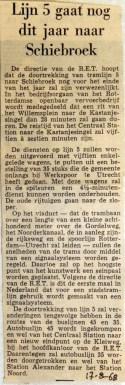 19680817 Lijn 5 gaat nog dit jaar naar Schiebroek