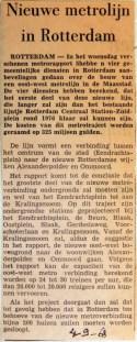 19680904 Nieuwe metrolijn in Rotterdam