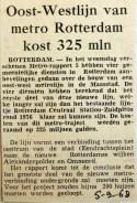19680905 Oost-westlijn metro Rotterdam kost 325 miljoen