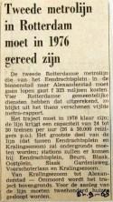 19680905 Tweede metrolijn moet in 1976 gereed zijn