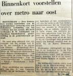 19681004 Binnenkort voorstellen over metro naar Oost