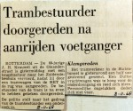 19681108 Trambestuurder doorgereden na aanrijding voetganger