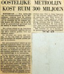 19681220 Oostelijke metrolijn kost ruim 300 miljoen