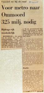 19681228 Voor metro naar Ommoord 325 niljoen nodig (RN)