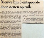 19690127 Nieuwe lijn 5 ontspoorde door stenen op de rails