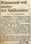 19690222 Rijnmond wil metro tot Spijkenisse