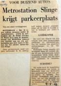 19690509 Metrostation Slinge krijgt parkeerplaats