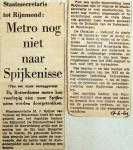 19690617 Metro nog niet naar Spijkenisse