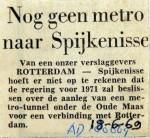 19690618 Nog geen metro naar Spijkenisse (AD)