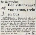 19690821 In Rotterdam een rittenkaart