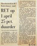 19691219 RET op 1 april 25 pct duurder