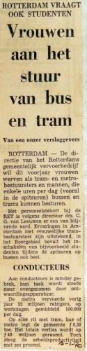 19700105 Vrouwen aan het stuur van bus en tram