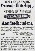 18791130 Aankondiging buitengewone aandeelhoudersvergadering. (RC)