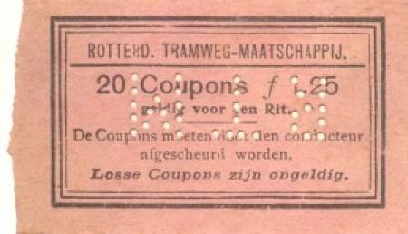 Omslag van een couponboekje ter waarde van F 1,25. In het boekje bevonden zich twintig genummerde coupons die ieder een waarde van 7,5 cent vertegenwoordigden.