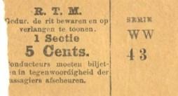 Universeel sectiebiljet voor één sectie ter waarde van 5 cent. Deze biljetten konden op alle stadslijnen gebruikt worden.